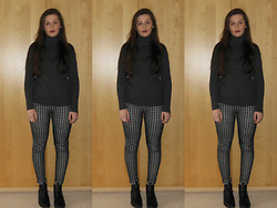 Ellie W - Zara Poloneck, Estee Lauder Brown Lipstick, Topshop Leggings, H&M Boots - You know you like it but it drives you insane