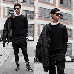 Tommy Lei - Authentic Apparel Group Army Bomber Jacket, Authentic Apparel Group Army Patchwork Sweater, Sammydress Harem Trousers, Yohji Yamamoto Y3 Boots - STRONGER THAN YESTERDAY