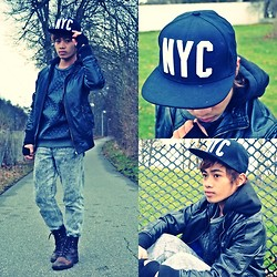 Brian Peter - Diy Hand Strap Gloves, Leather Pullover, Hooded Leather Jacket With Flip Pocket Design, Acid Wash Jeans, Black International Brown Leather Combat Boots, H&M Black Nyc Snapback - NYC