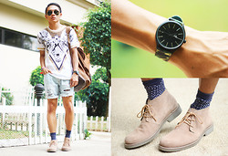 Miko Carreon - Mario D' Boro Desert Boots, Plus Watches Watch, Topman Socks - Bone Festival