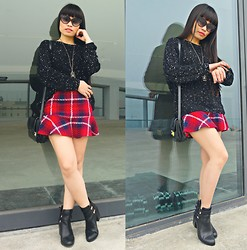 Thuy Bee - Swarovski Dana Black Sunglasses, Stradivarious Ankle Boots, Sequin Black Sweaters - A Tartan Tale
