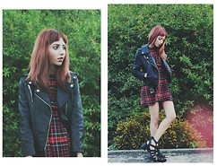 Leslie Estrada - Forever 21 Leather Jacket, Zara Plaid Dress - Your word is a lamp to my feet and a light to my path.
