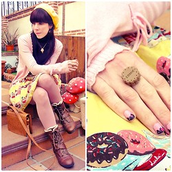 Natalia L. - Emily Temple Cute Parfait Print, Primark Brown Boots, Ai Candies Cookie Ring - And if you're still breathing, you're the lucky ones...