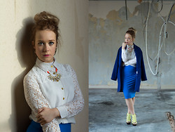 Emma Reay - River Island Orange Cord Statement Necklace, Frontrowshop White Lace And Sheer Shirt, Topshop Leaf Armor Ring, Primark Blue Jersey Midi Skirt, Principles Blue Oversized Boyfriend Coat, Topshop Yellow Platform Heels - Blue on Blue