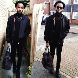 Abdulqadir Abuukar - Ralph Lauren Round Vintage Sunglasses, Topman Turtleneck Jumper, River Island Black Skinny Jeans, Aramis Brown Carry On Bag, Nike Black Air Max 90 - I know, You know