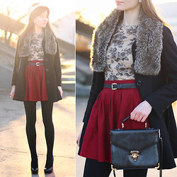 Ariadna M. - Oasap Red Flared Skirt, Romwe Beige Floral Top, Asos Black Coat, Cropp Town Faux Fur Scarf, River Island Black Hat With Bow, Aldo Black Leather Heels, Rosewholesale Black Bag, Black Tights - Retro chic