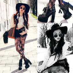 Alessandra Kamaile - River Island Lace Blouse, Diy Highwaisted Studded Shorts, Pamela Mann Tights, Jeffrey Campbell O Quinn Platforms, Zerouv Oversized Sunnies, Louis Vuitton Vintage Shoulder Bag, Brandy Melville Usa Floppy Hat, Dolls Kill Fox Tail - Too Far.