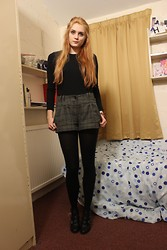 Laurel Elizabeth - Zara Leather Shoulder Padded Top, New Look Plaid Shorts, Black Tights, New Look Heeled Boots - Can't be that Difficult to Find