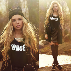 Ekaterina Normalnaya - Hat With Ears, Yonce Crop Top, Leather Skirt, Coat, Sneakers - I'm BATMAN! Shhhhh!
