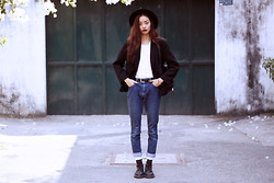 Vu Thien - Thrift Store Blazer, Thrift Store High Jeans, Dr. Martens Boots - LOVE IN STEREO