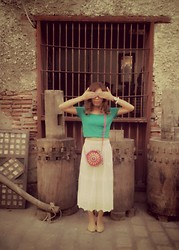 Monelyn B. - Monicadcloset Crop Top, Vigan Bag, Lace Skirt - Antique.