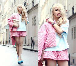 Anastasia Siantar - Cos Baby Blue Outer As Top, Quilted Pink Jacket And Shorts Set, Nicholas Kirkwood Shoes - More pastel