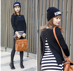 Genebei Saratorio - Romwe Fake Two Piece Long Sleeves Black T Shirt, Romwe Beanie, Rosewholesale.Com Fashion And Laconic Solid Color Covered Bag For Women, Lace Up Boots, Sheinside Multi Color Triangles Chain Necklace, Romwe Floral Print Leather Sliver Leggings - R is for ROMWE + Giveaway! Open Worldwide
