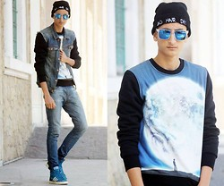 Anass Louasfi - Frontrowshop Bad Hair Day Beanie, Choies Square Blue Sunglasses, Choies Men's Earth Boy, Zara Denim, Zara Jeans, Adidas Basket Proof - It's a small world