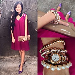 Jeschel Apo - Forever 21 Dress, Guess? Watch, Aldo Clutch - VOGUE.