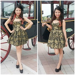 Angeline Ng - Rare London Baroque Gold Dress, Pinknproper Fancy Mesh Hat, Topshop Chunky Heel - Baroque meets fancy hats