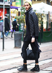 Dan Cristian G. - Zara Quilted Jacket, Acne Studios Black Pants, Dior Homme Shoes, H&M Cardigan, Self Made Draped Shirt, H&M Beanie, Zara Bag - Where i be