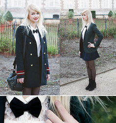 Angéline - Bizzbee Coat, The Kooples Jacket, Etsy Bow, Vagabond Boots - Stairway to heaven