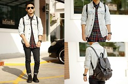 Stephen Garcia - Topman Denim Jacket, Forever 21 Printed Button Down - Great Residence