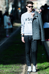 Filippo Bologni - Msgm Sweater, Zara Coat, Zara Pants, Hermës Bracelet, Maison Martin Margiela Shoes, Ray Ban Sunglasses - Shades of Gray