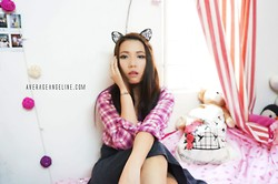 Angeline Ng - Cotton On Checkered Top, Cotton On Grey Skater Dress, Forever 21 Lace Cat Headband - Casual Cat Saturday