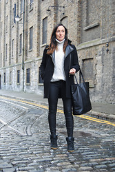 Emma Whyte - New Look Knit, Zara Coat, Bershka Tote, Zara Pants, Topshop Sneakers - Leather and Knit