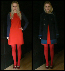 Gabriella B - Asos Red Sleeveless Shift Dress, New Look Navy Cotton Long Sleeved Tee, New Look Navy Blue Colour Block A Line Coat, Calzedonia Bold Red Opaque Tights, New Look Dark Red Patent Block Heeled Loafers - Block by block