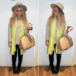 Lydia Jones - Zara Top, River Island Jeans, Zara Boots, Givenchy Bag, Topshop Scarf, River Island Hat - Winter Lime