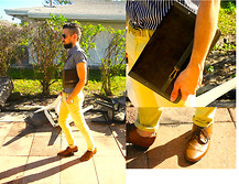 David Rodriguez - American Apparel Striped Shirt, Cheap Monday Yellow Skinny Jeans, Vintage Suede/ Leather Clutch, H&M Brown Dress Shoes - WALKING ON SUNSHINE