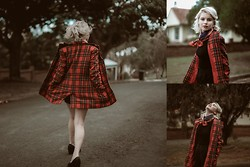 Theresa Fryer - No Brand Thrift Store Tartan, No Brand Black Turtle Neck, No Brand Black High Waisted Pants, Asos Black Leather Heels - Winter approches