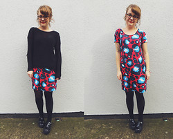 Little L - London Retro Glasses, H&M Slouchy Jumper, River Island Dress, Asos Shoes - Red leopard day.