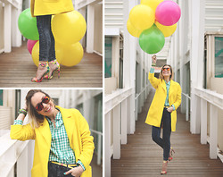My Showroom Priscila - Zara Coat, Forever 21 Jeans, Zara Shirt, 41 Eyewear Sunnies, Steve Madden Sandals - Colorful Day