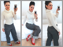 Caroline BC - Morgan Thick Off White Sweater, Minelli Red Patent Court Shoes, Freddies Of Pinewood Grey Buttons Jeans - Retro jeans & warm sweater