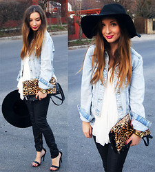 Aliz M - Zara Denim Jacket, Zara Coated Pants, Zara Heels, H&M Shirt, H&M Hat - Less is More