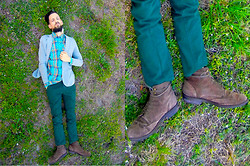 David Rodriguez - Standard Cloth Plaid Shirt, H&M Jersey Blazer, Hawkings Mcgill Green Chinos, Hawkings Mcgill Suede Boots - FIELD OF DREAMS