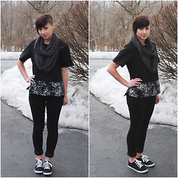 Sabrina B - Frontrowshop Leopard Panel Top, Aeropostale Canvas Sneaker, All Saints Jeans - Too Much Snow