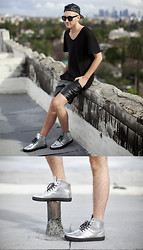 Jared Ralys - Alexander Wang T Shirt, American Apparel Leather Shorts, Creative Recreation Sneakers - AFTER THE RAIN