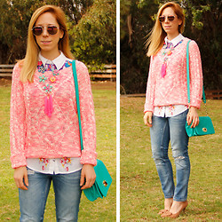 Melissa P. - Grayson Shop Marled Sweater, Merona Crossbody Bag, Boohoo Bow Pumps - Think Pink