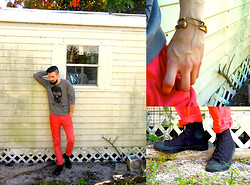 David Rodriguez - H&M Skull Sweatshirt, Hawkings Mcgill Red Chinos, Giles And Brother Safety Pin Bracelet, Giles And Brother Railroad Spike Cuff, Converse Black Hi Tops - CHERRY BOMB