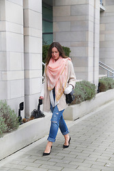 Alexandra G. - H&M Printed Scarf, Free People Sweater Coat, Left On Houston Cardigan, Abercrombie And Fitch Ripped Boyfriend Jeans, 3.1 Phillip Lim Crossbody Bag - Peachy