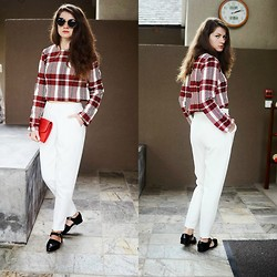Nicoleta Buru - Sheinside Jacket, New Look Trousers, Charles & Keith Shoes - White&plaid