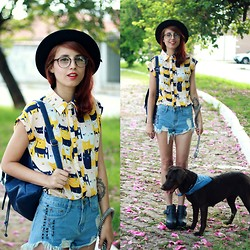Glena Martins - Glasses, Romwe Cats Shirt, Oasap Shorts, Romwe Boots - Cats and Dog