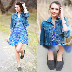 Madeline Becker - Urban Outfitters Striped Dress, Vintage Jean Jacket, Airwalk Gray Dream Slip Ons - JUST AROUND THE CORNER