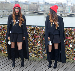 Kavita D - Ebay Red Beanie, Misbhv Team Paris Sweater, Asos Black Long Coat, Ebay Black Skater Skirt, Over The Knee Boots, Bochic Lock Bag - Paris Fashion Week : The LoveLock Bridge