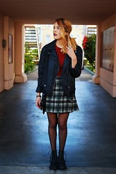 Estefania Pino - Urban Outfitters Moto Jacket, Jeffrey Campbell Boots - Mad for Plaid