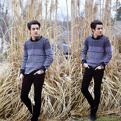 Armando Maldonado - H&M Sweater, Urban Outfitters Leather Collared Shirt, Skinny Jeans, Shoes, Kenneth Cole Watch - Bravado