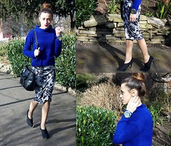 Stephanie G - Missguided Dress, New Look Boots - Blue Floral!