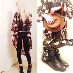 Lisa Backus - Forever 21 Floral Kimono, Vintage T Shirt, Gap Jeans, Gap Hat, Pacsun Cutout Booties - Love Me Like I'm Not Made of Stone
