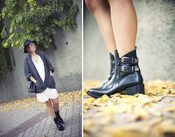 Barbara Crespo - Zara Boots, The Corner Cardigan, Zara Lingerie Dress, The Corner Sunnies, Frontrowshop Hat, Chanel 2.55 Bag - Lingerie dress