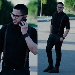 Nabil Asserghine - Zara Shirt, Topman Black Pant, Madison Shoes, Ray Ban Eyewear - The black outfit ♥